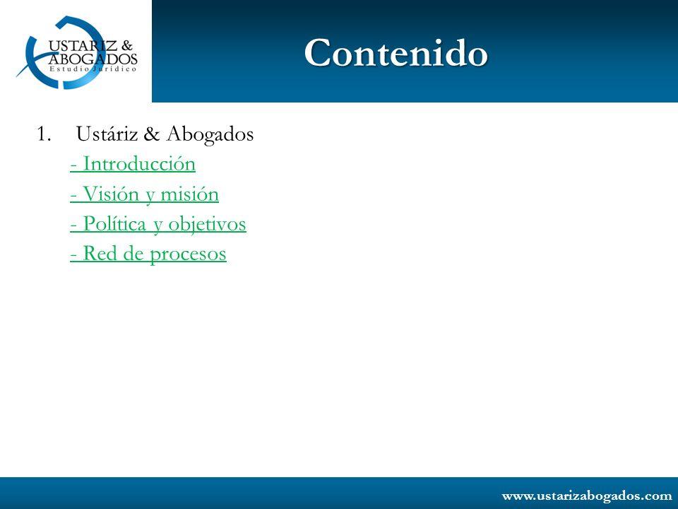 www.ustarizabogados.com Ustáriz & Abogados Estudio Jurídico está certificado por Icontec Colombia, en la norma NTC ISO 9001:2008.