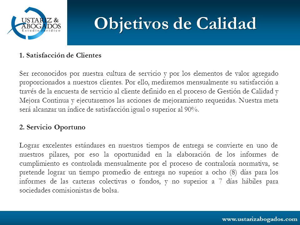 www.ustarizabogados.com Objetivos de Calidad 3.