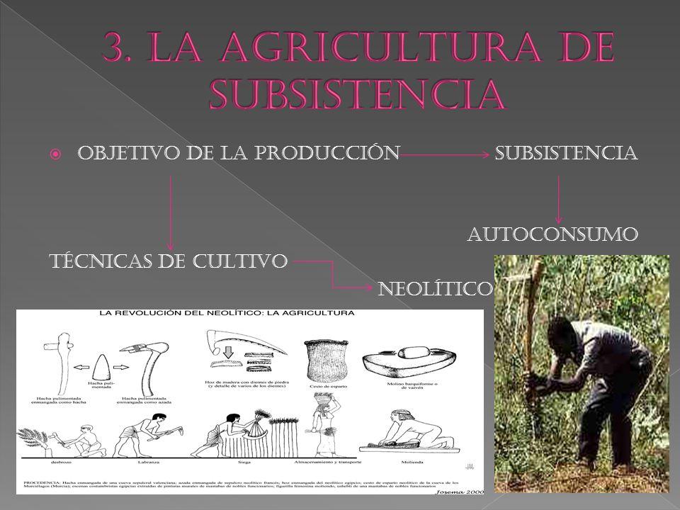  OBJETIVO DE LA PRODUCCIÓN SUBSISTENCIA AUTOCONSUMO TÉCNICAS DE CULTIVO NEOLÍTICO