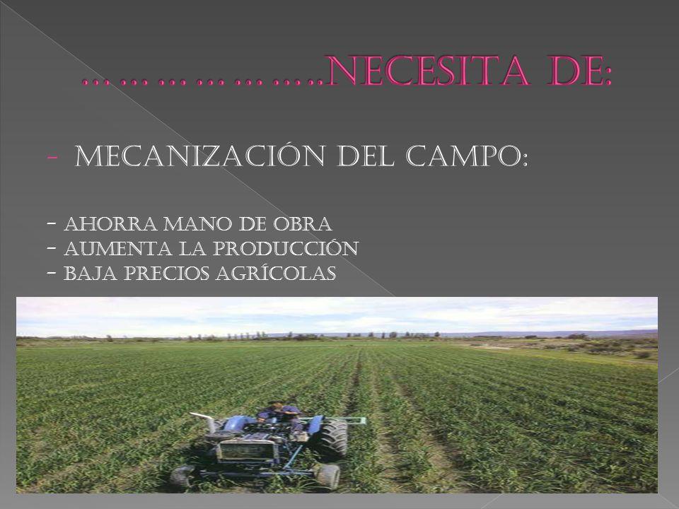 - MECANIZACIÓN DEL CAMPO: - AHORRA MANO DE OBRA - AUMENTA LA PRODUCCIÓN - BAJA PRECIOS AGRÍCOLAS