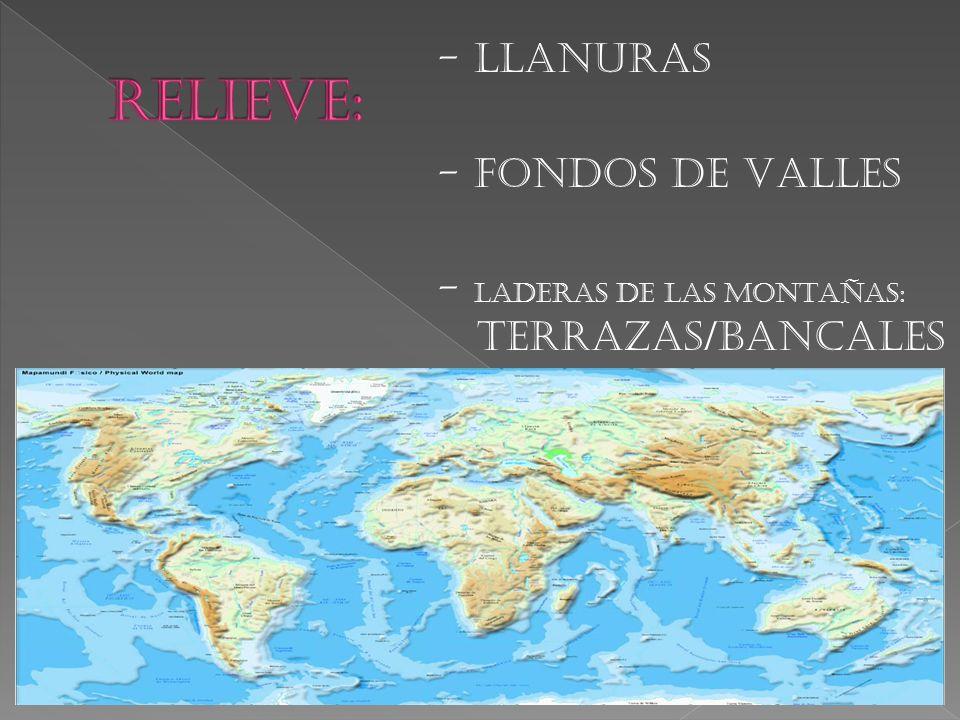- LLANURAS - FONDOS DE VALLES - LADERAS DE LAS MONTAÑAS: TERRAZAS/BANCALES