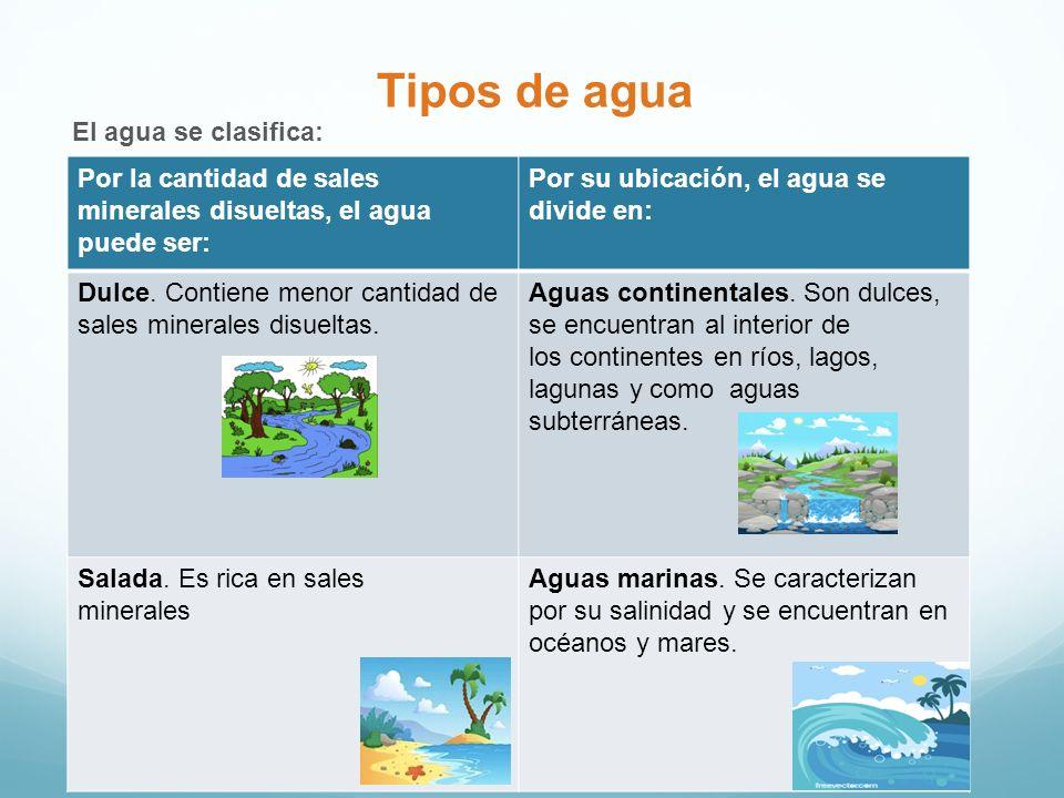 Tipos de agua El agua se clasifica: Por la cantidad de sales minerales disueltas, el agua puede ser: Por su ubicación, el agua se divide en: Dulce. Co
