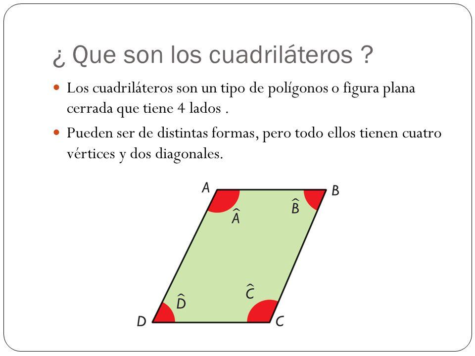 ¿ Que son los cuadriláteros ? Los cuadriláteros son un tipo de polígonos o figura plana cerrada que tiene 4 lados. Pueden ser de distintas formas, per