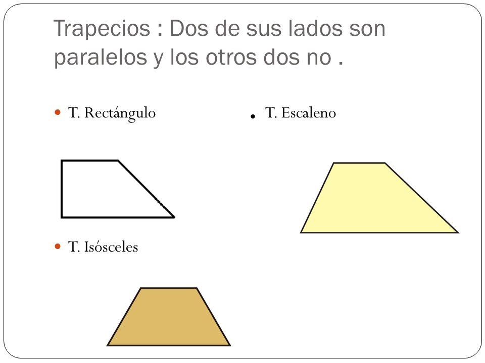 Trapecios : Dos de sus lados son paralelos y los otros dos no. T. Rectángulo. T. Escaleno T. Isósceles