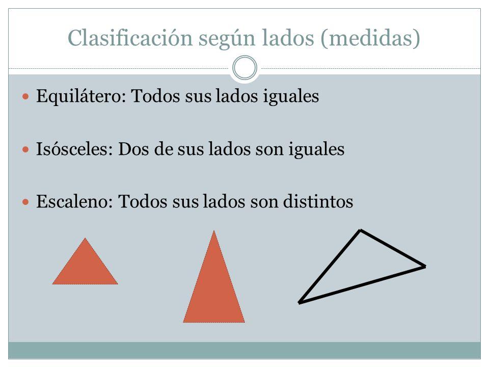 Clasificación según lados (medidas) Equilátero: Todos sus lados iguales Isósceles: Dos de sus lados son iguales Escaleno: Todos sus lados son distinto