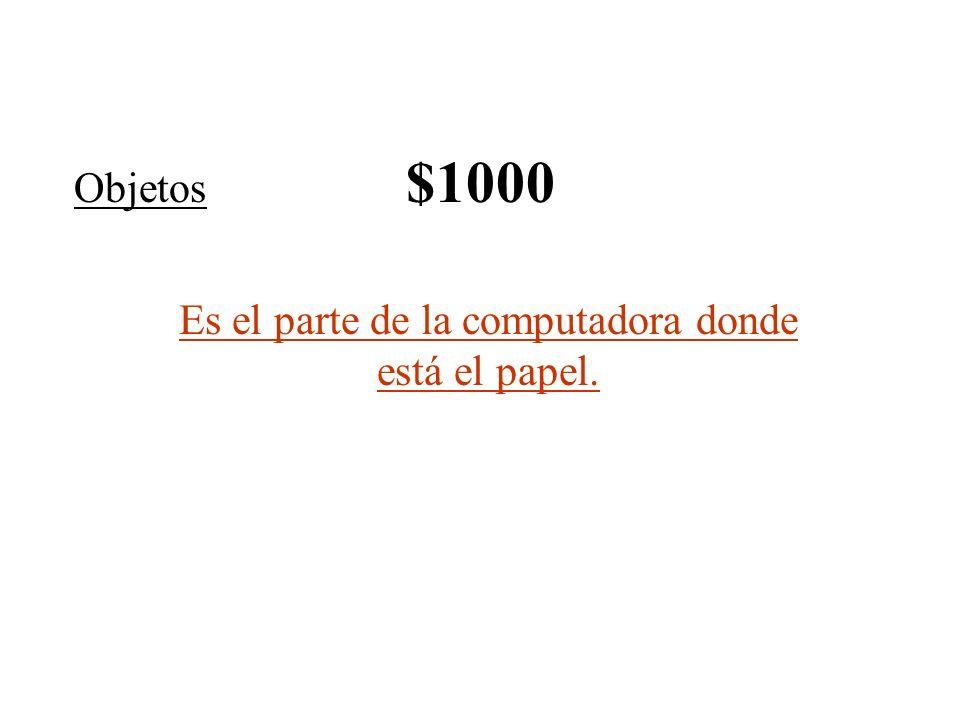 Objetos $1000 Es el parte de la computadora donde está el papel.