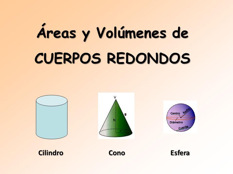 CilindroConoEsfera Áreas y Volúmenes de CUERPOS REDONDOS