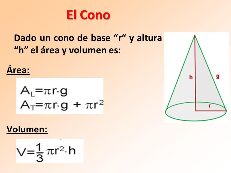 El Cono Área: Volumen: Dado un cono de base r y altura h el área y volumen es:
