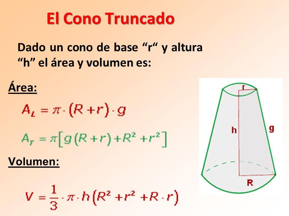 El Cono Truncado Área: Volumen: Dado un cono de base r y altura h el área y volumen es: