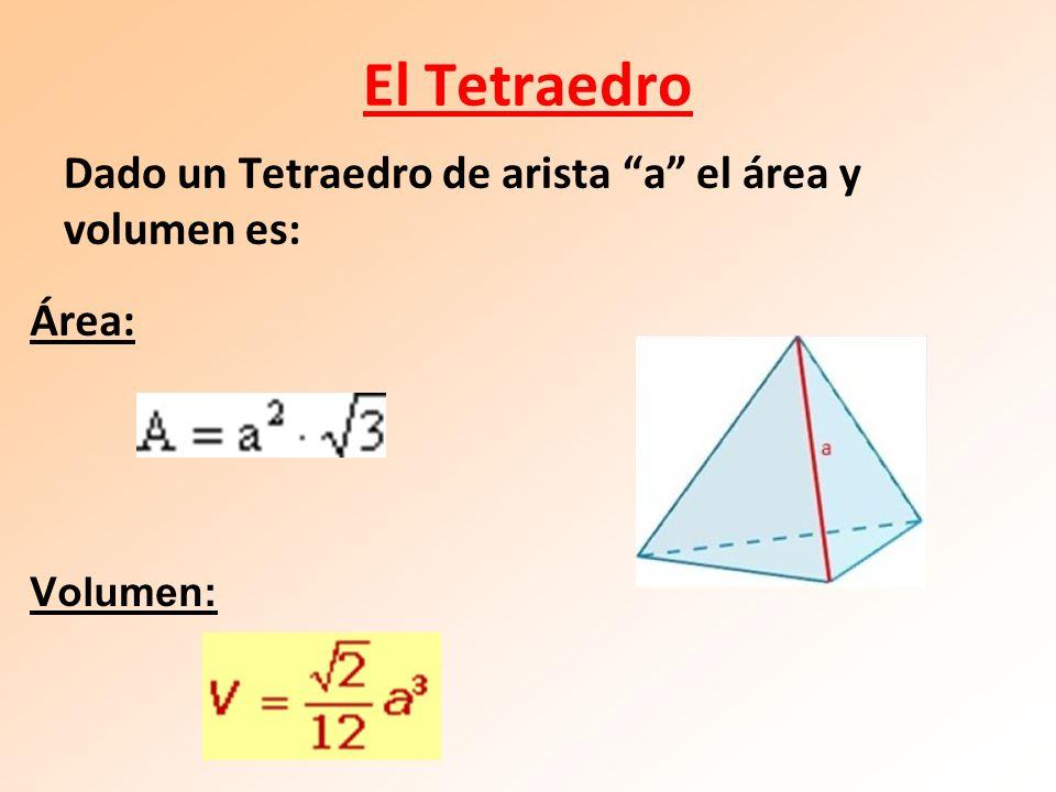 El Tetraedro Área: Volumen: Dado un Tetraedro de arista a el área y volumen es: