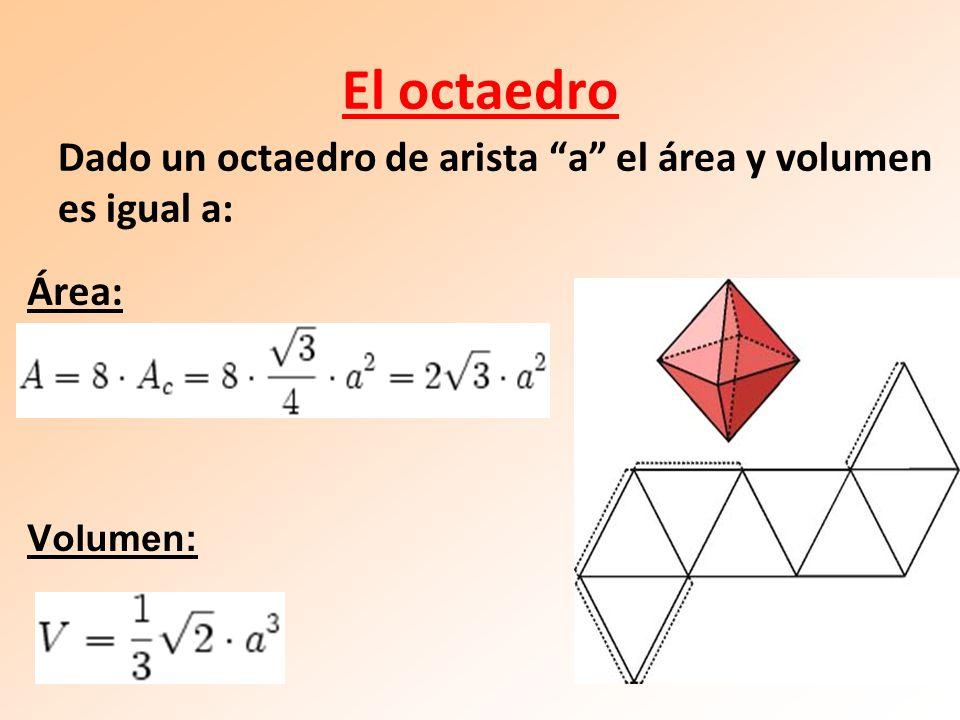 El octaedro Área: Volumen: Dado un octaedro de arista a el área y volumen es igual a: