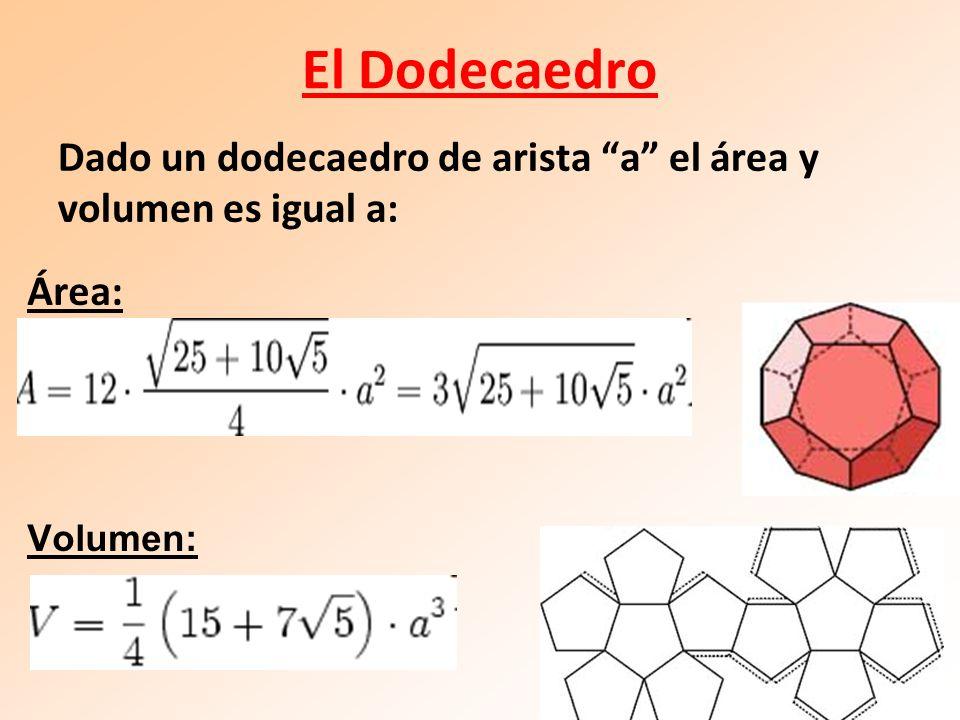 El Dodecaedro Área: Volumen: Dado un dodecaedro de arista a el área y volumen es igual a:
