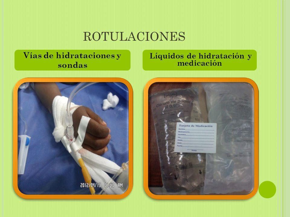 ROTULACIONES Vías de hidrataciones y sondas Líquidos de hidratación y medicación