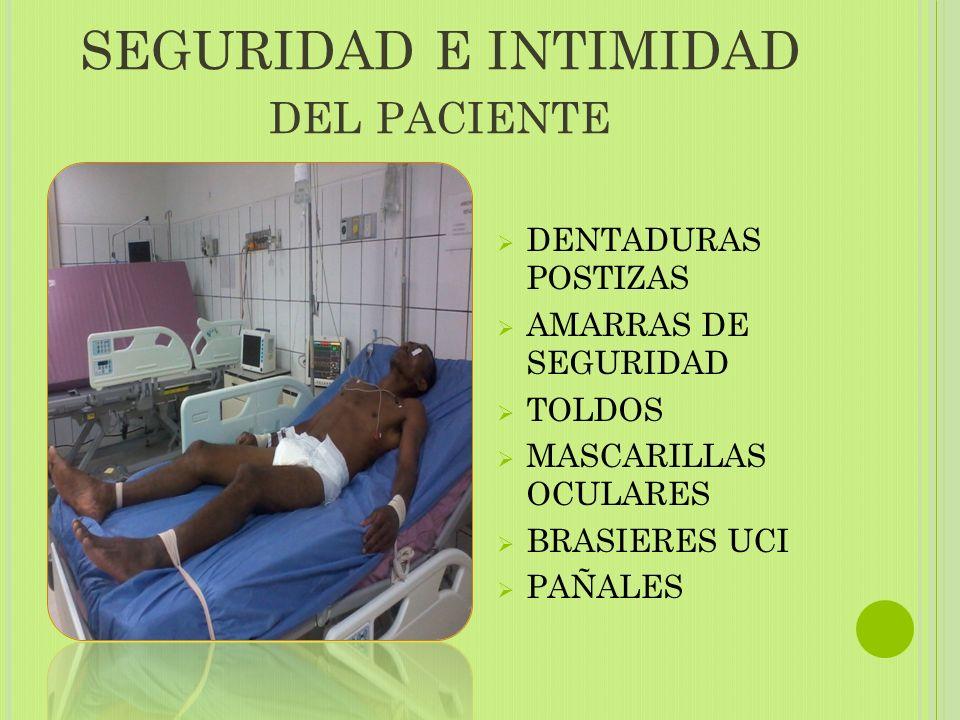 SEGURIDAD E INTIMIDAD DEL PACIENTE  DENTADURAS POSTIZAS  AMARRAS DE SEGURIDAD  TOLDOS  MASCARILLAS OCULARES  BRASIERES UCI  PAÑALES