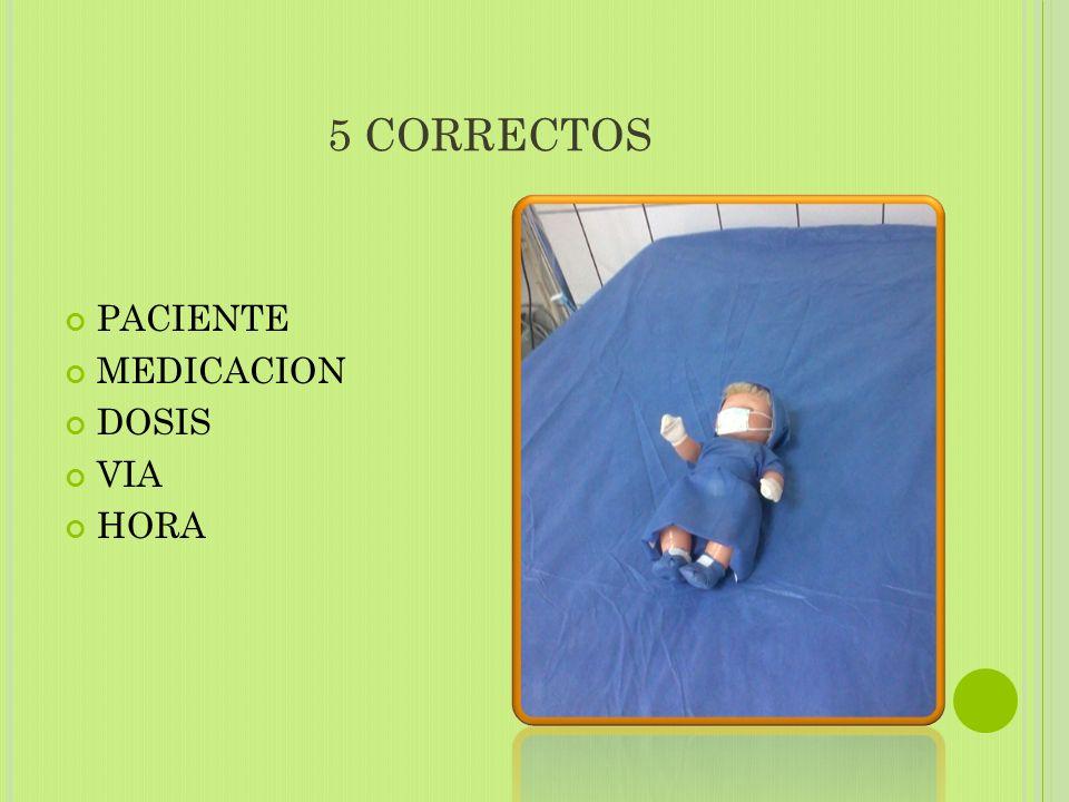 5 CORRECTOS PACIENTE MEDICACION DOSIS VIA HORA