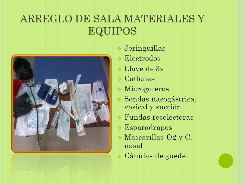 ARREGLO DE SALA MATERIALES Y EQUIPOS  Jeringuillas  Electrodos  Llave de 3v  Catlones  Microgoteros  Sondas nasogástrica, vesical y succión  Fundas recolectoras  Esparadrapos  Mascarillas O2 y C.