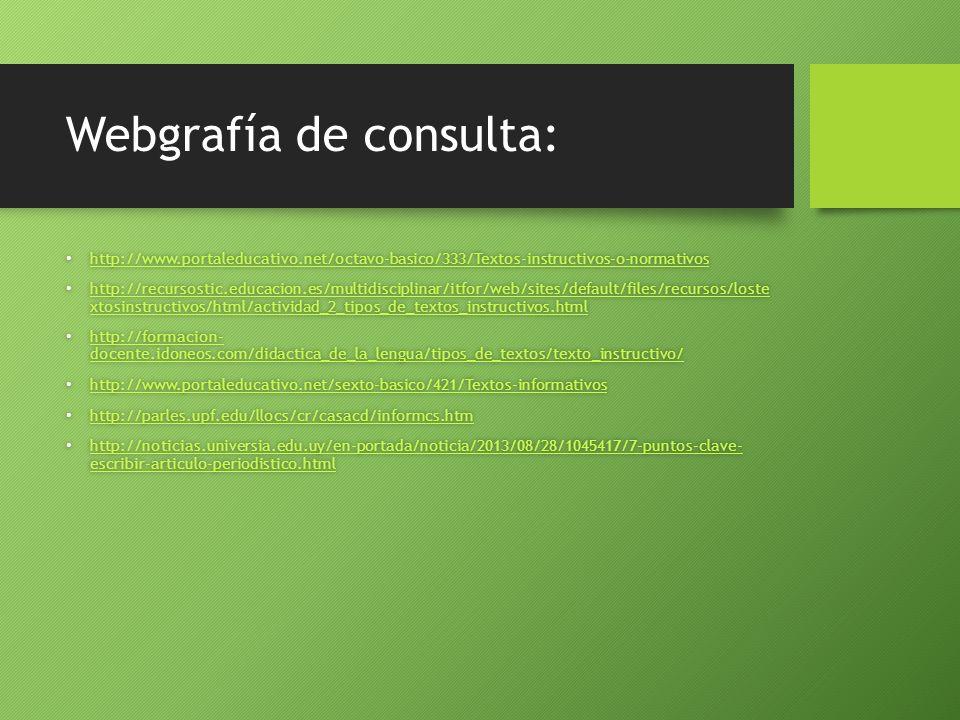 Webgrafía de consulta: http://www.portaleducativo.net/octavo-basico/333/Textos-instructivos-o-normativos http://www.portaleducativo.net/octavo-basico/333/Textos-instructivos-o-normativos http://www.portaleducativo.net/octavo-basico/333/Textos-instructivos-o-normativos http://recursostic.educacion.es/multidisciplinar/itfor/web/sites/default/files/recursos/loste xtosinstructivos/html/actividad_2_tipos_de_textos_instructivos.html http://recursostic.educacion.es/multidisciplinar/itfor/web/sites/default/files/recursos/loste xtosinstructivos/html/actividad_2_tipos_de_textos_instructivos.html http://recursostic.educacion.es/multidisciplinar/itfor/web/sites/default/files/recursos/loste xtosinstructivos/html/actividad_2_tipos_de_textos_instructivos.html http://recursostic.educacion.es/multidisciplinar/itfor/web/sites/default/files/recursos/loste xtosinstructivos/html/actividad_2_tipos_de_textos_instructivos.html http://formacion- docente.idoneos.com/didactica_de_la_lengua/tipos_de_textos/texto_instructivo/ http://formacion- docente.idoneos.com/didactica_de_la_lengua/tipos_de_textos/texto_instructivo/ http://formacion- docente.idoneos.com/didactica_de_la_lengua/tipos_de_textos/texto_instructivo/ http://formacion- docente.idoneos.com/didactica_de_la_lengua/tipos_de_textos/texto_instructivo/ http://www.portaleducativo.net/sexto-basico/421/Textos-informativos http://www.portaleducativo.net/sexto-basico/421/Textos-informativos http://www.portaleducativo.net/sexto-basico/421/Textos-informativos http://parles.upf.edu/llocs/cr/casacd/informcs.htm http://parles.upf.edu/llocs/cr/casacd/informcs.htm http://parles.upf.edu/llocs/cr/casacd/informcs.htm http://noticias.universia.edu.uy/en-portada/noticia/2013/08/28/1045417/7-puntos-clave- escribir-articulo-periodistico.html http://noticias.universia.edu.uy/en-portada/noticia/2013/08/28/1045417/7-puntos-clave- escribir-articulo-periodistico.html http://noticias.universia.edu.uy/en-portada/noticia/2013/08/28/1045417/7-puntos-clave- escribir-
