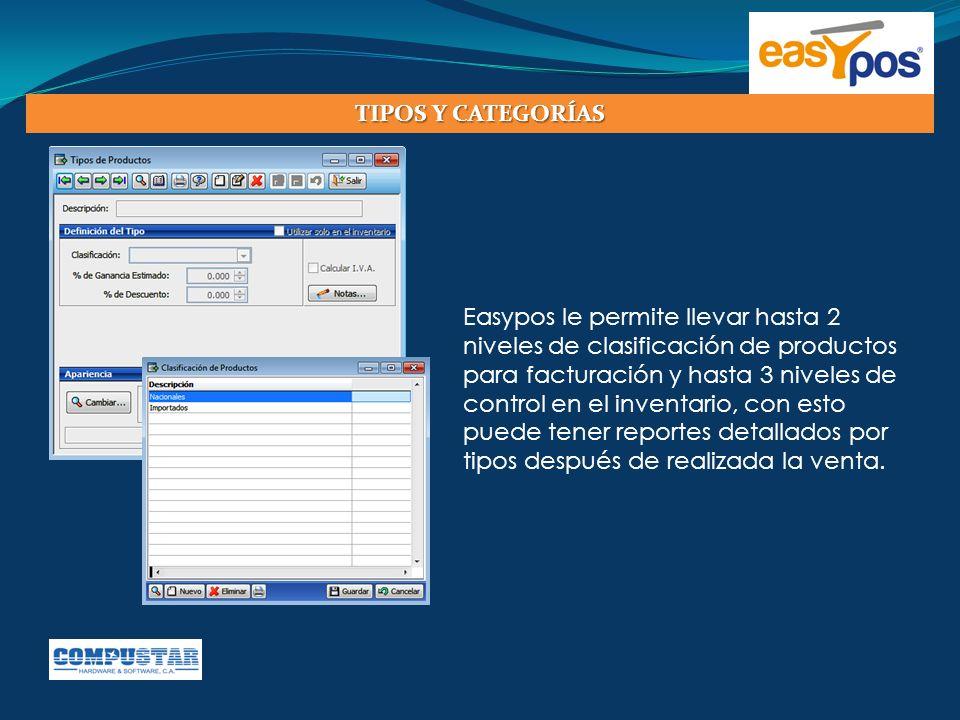 Easypos le permite llevar hasta 2 niveles de clasificación de productos para facturación y hasta 3 niveles de control en el inventario, con esto puede
