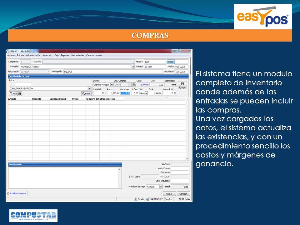 El sistema tiene un modulo completo de inventario donde además de las entradas se pueden incluir las compras. Una vez cargados los datos, el sistema a