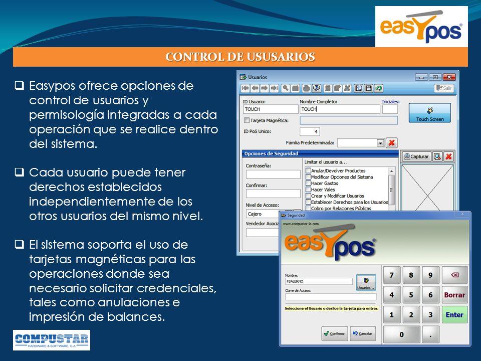  Easypos ofrece opciones de control de usuarios y permisología integradas a cada operación que se realice dentro del sistema.  Cada usuario puede te