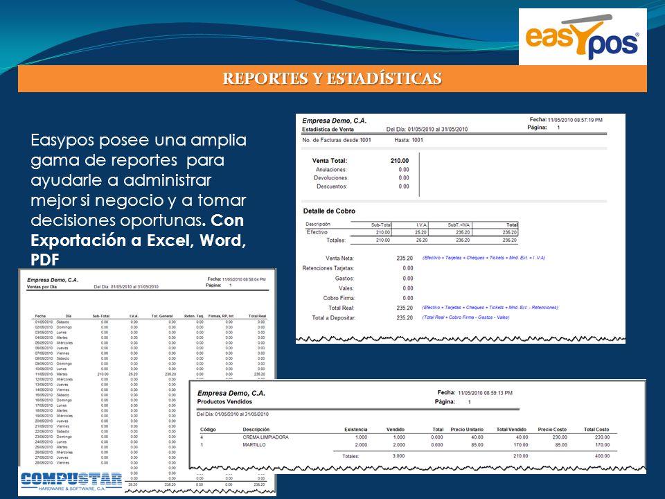 Easypos posee una amplia gama de reportes para ayudarle a administrar mejor si negocio y a tomar decisiones oportunas. Con Exportación a Excel, Word,
