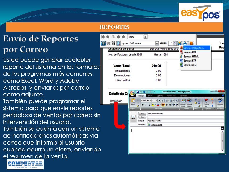 Usted puede generar cualquier reporte del sistema en los formatos de los programas más comunes como Excel, Word y Adobe Acrobat, y enviarlos por corre