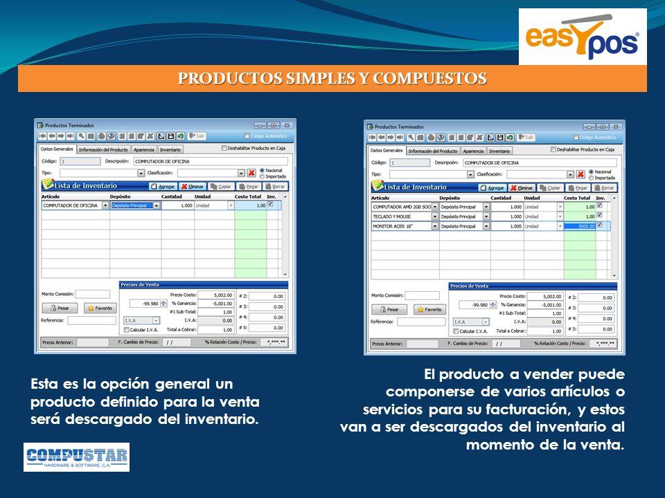 Easypos le permite llevar hasta 2 niveles de clasificación de productos para facturación y hasta 3 niveles de control en el inventario, con esto puede tener reportes detallados por tipos después de realizada la venta.