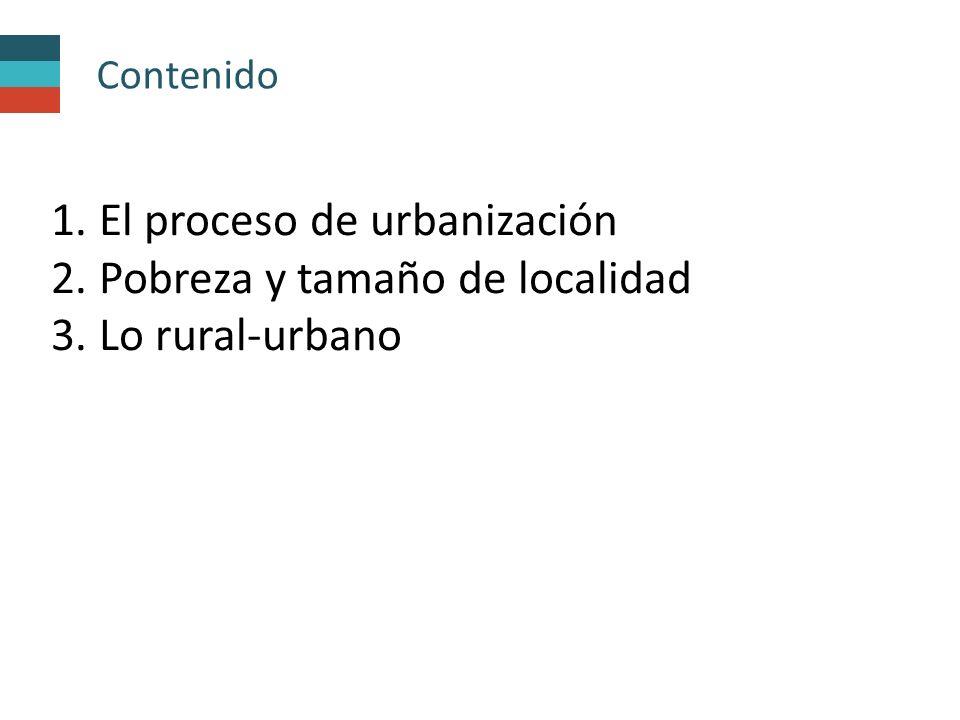 Contenido 1. El proceso de urbanización 2. Pobreza y tamaño de localidad 3. Lo rural-urbano