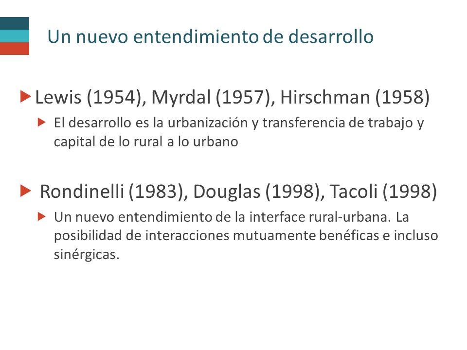 Un nuevo entendimiento de desarrollo  Lewis (1954), Myrdal (1957), Hirschman (1958)  El desarrollo es la urbanización y transferencia de trabajo y capital de lo rural a lo urbano  Rondinelli (1983), Douglas (1998), Tacoli (1998)  Un nuevo entendimiento de la interface rural-urbana.