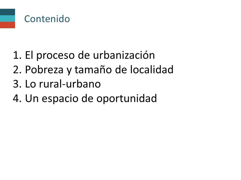 Contenido 1.El proceso de urbanización 2. Pobreza y tamaño de localidad 3.