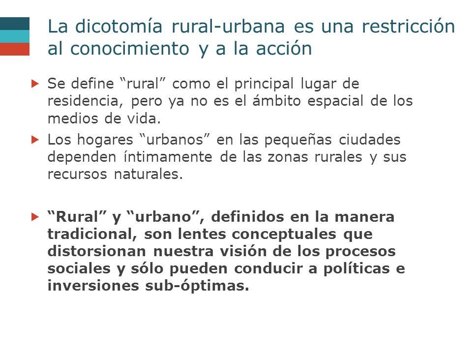 La dicotomía rural-urbana es una restricción al conocimiento y a la acción  Se define rural como el principal lugar de residencia, pero ya no es el ámbito espacial de los medios de vida.