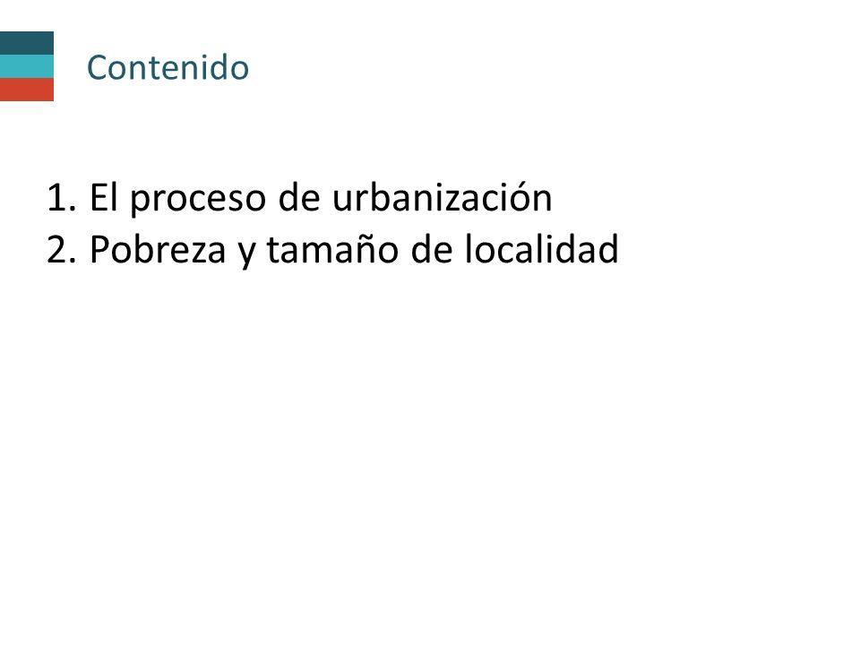 Contenido 1. El proceso de urbanización 2. Pobreza y tamaño de localidad
