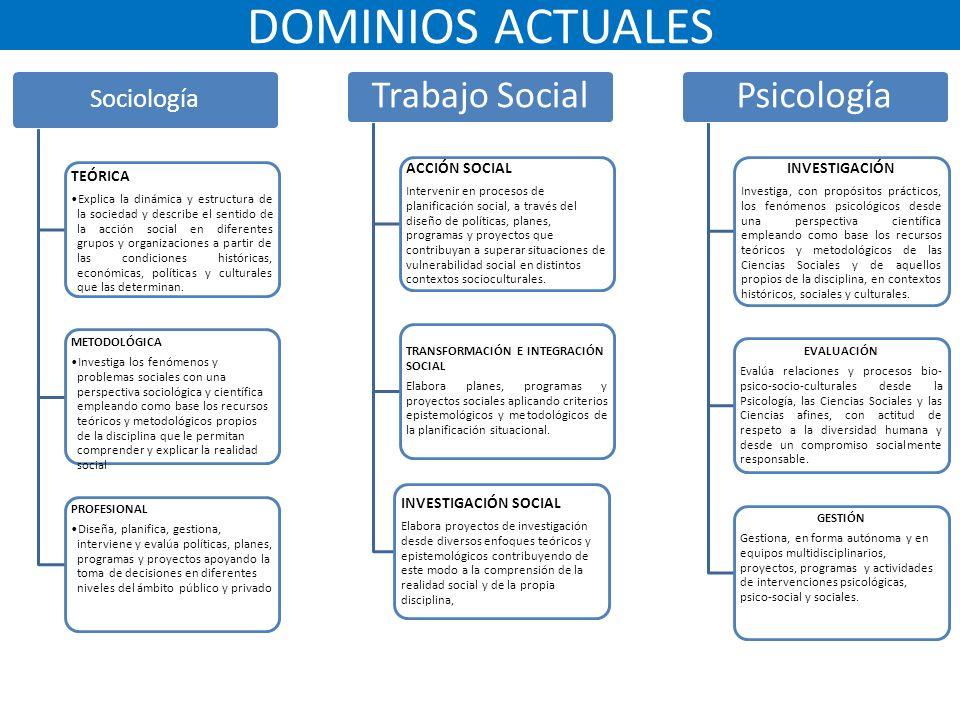 METODOLOGÍA DE TRABAJO Revisión de dominios actuales y documentos disponibles por carrera.