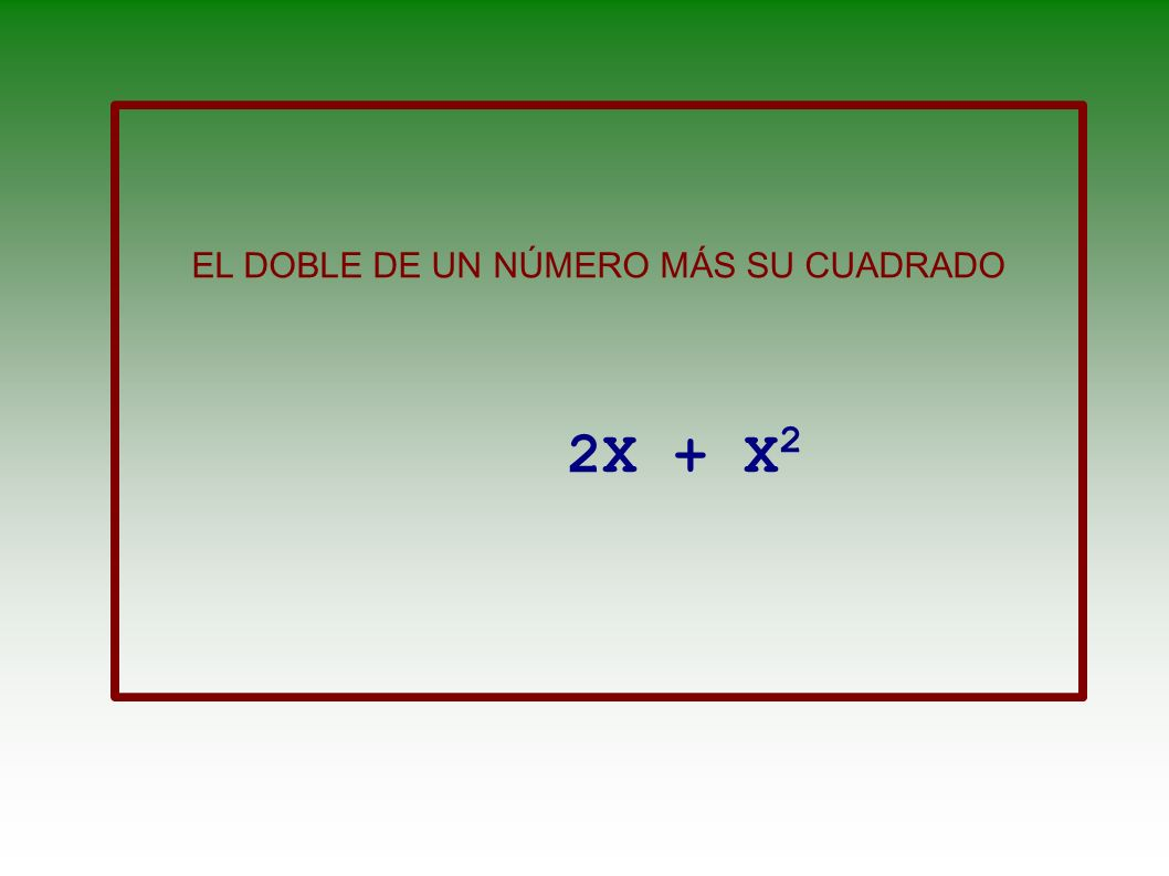 LA MITAD DE UN NÚMERO MÁS CINCO ES IGUAL A SU CUARTA PARTE MULTIPLICADA POR TRES X 2 = X 4.3 +5