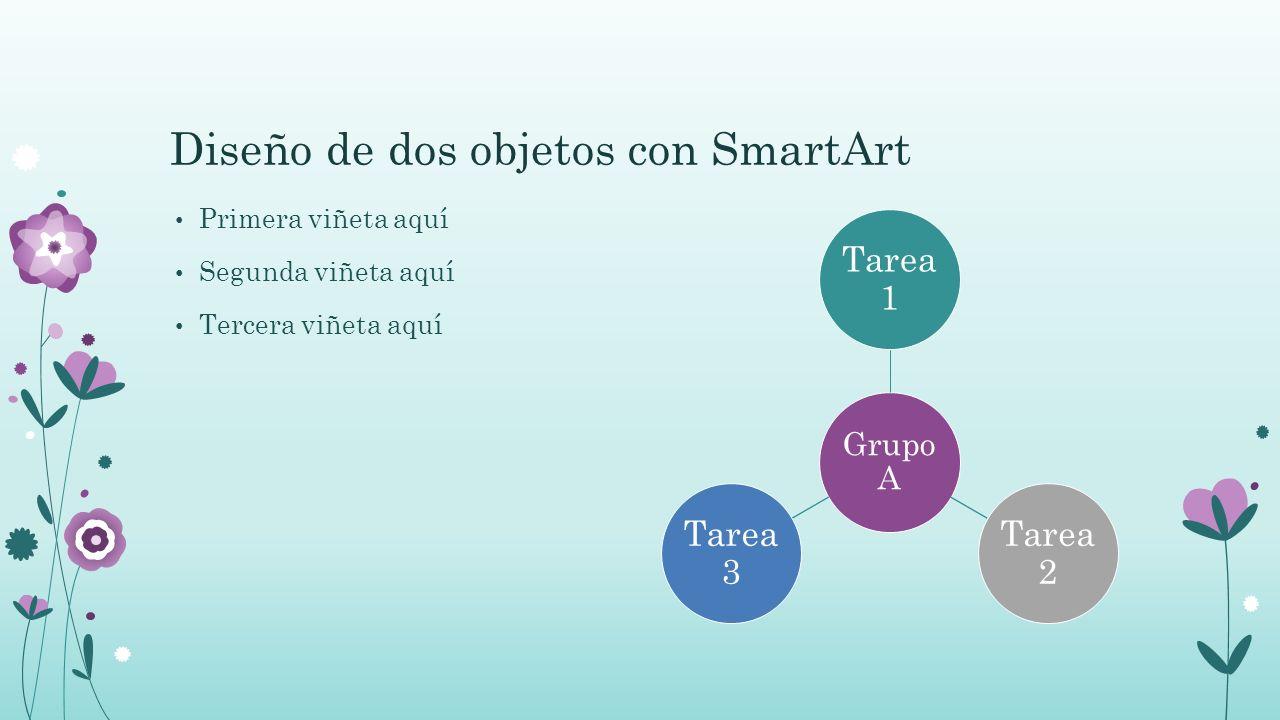 Diseño de dos objetos con SmartArt Primera viñeta aquí Segunda viñeta aquí Tercera viñeta aquí Grupo A Tarea 1 Tarea 2 Tarea 3