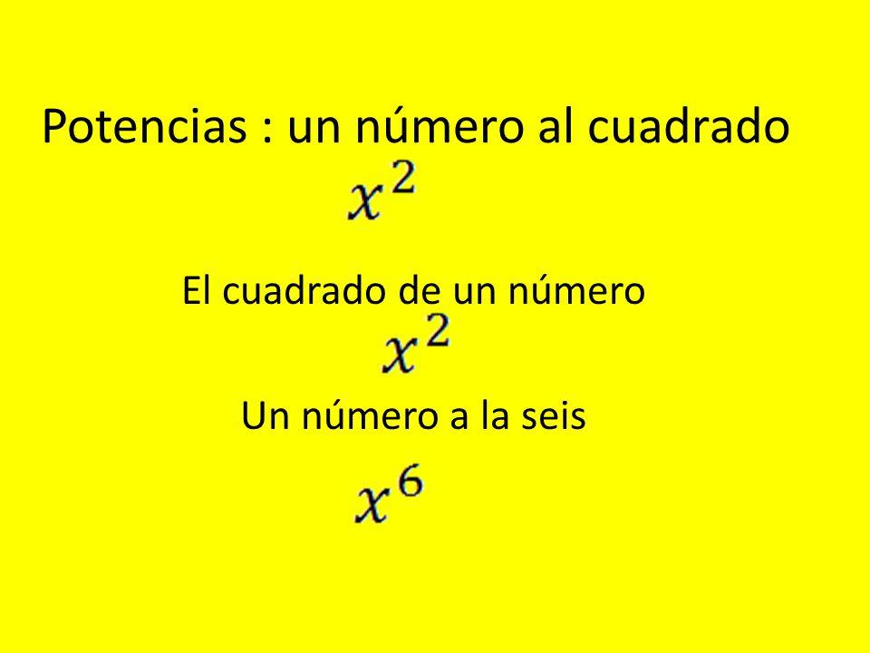 Potencias : un número al cuadrado El cuadrado de un número Un número a la seis