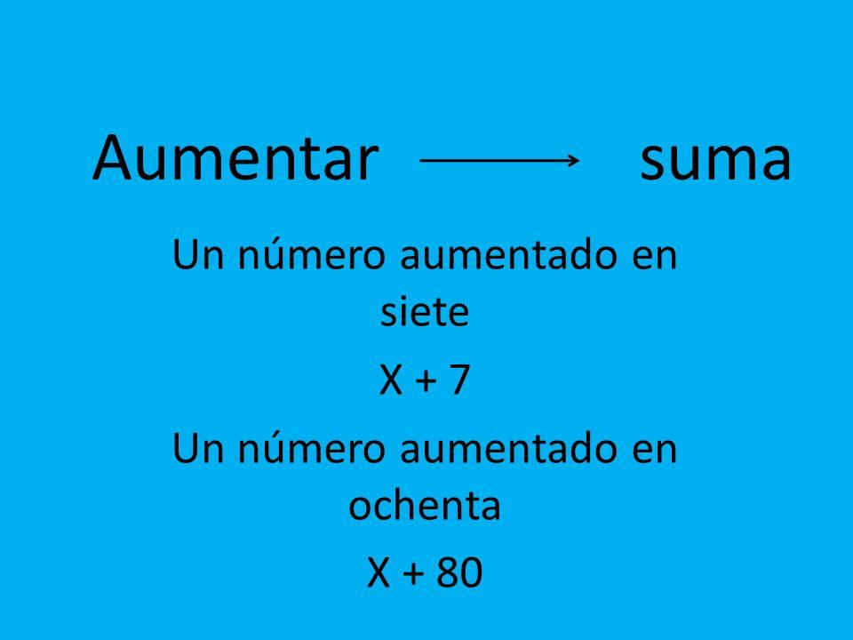 Aumentar suma Un número aumentado en siete X + 7 Un número aumentado en ochenta X + 80