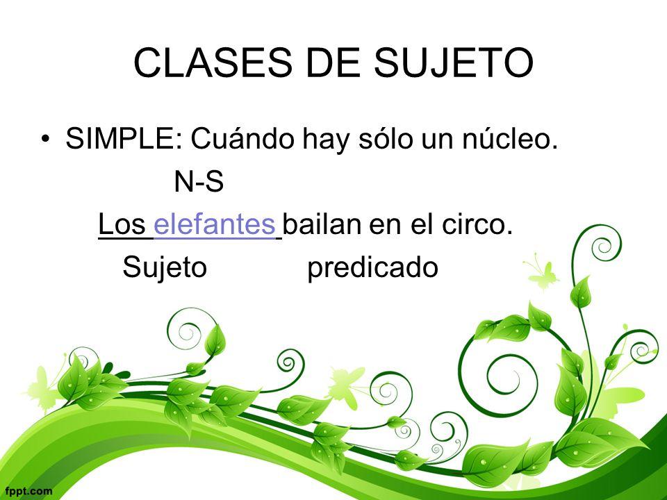 CLASES DE SUJETO SIMPLE: Cuándo hay sólo un núcleo.