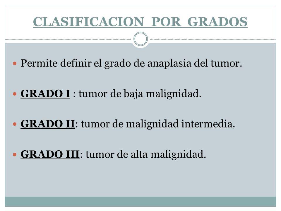 CLASIFICACION POR GRADOS Permite definir el grado de anaplasia del tumor. GRADO I : tumor de baja malignidad. GRADO II: tumor de malignidad intermedia