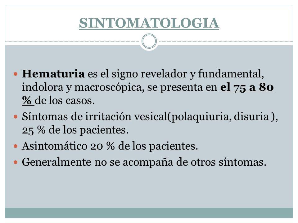 SINTOMATOLOGIA Hematuria es el signo revelador y fundamental, indolora y macroscópica, se presenta en el 75 a 80 % de los casos. Síntomas de irritació