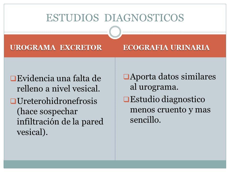 UROGRAMA EXCRETOR ECOGRAFIA URINARIA  Evidencia una falta de relleno a nivel vesical.  Ureterohidronefrosis (hace sospechar infiltración de la pared