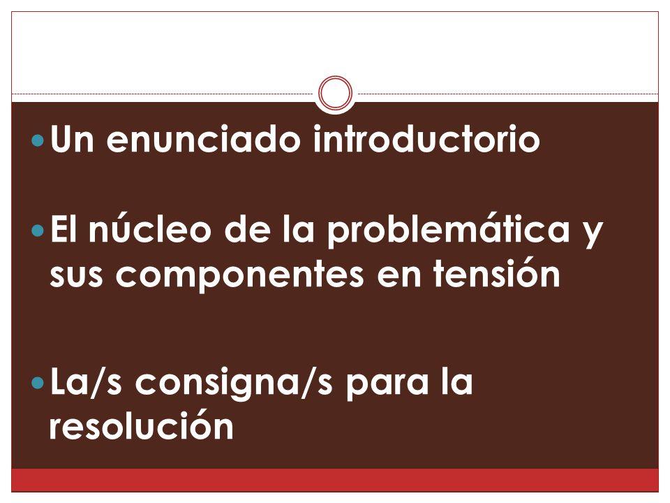 Un enunciado introductorio El núcleo de la problemática y sus componentes en tensión La/s consigna/s para la resolución