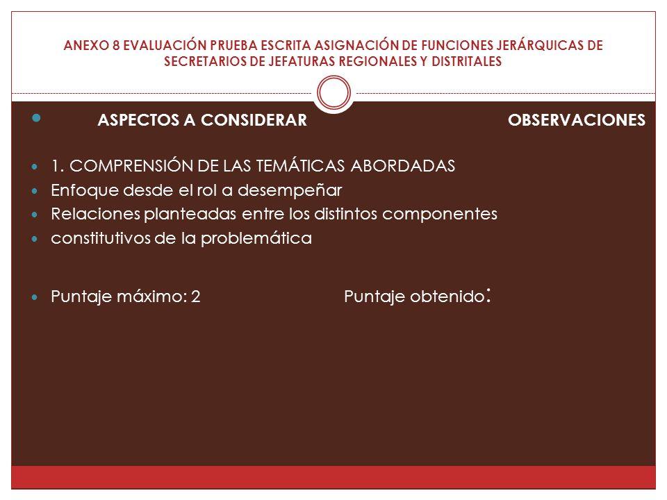 ANEXO 8 EVALUACIÓN PRUEBA ESCRITA ASIGNACIÓN DE FUNCIONES JERÁRQUICAS DE SECRETARIOS DE JEFATURAS REGIONALES Y DISTRITALES ASPECTOS A CONSIDERAR OBSERVACIONES 1.