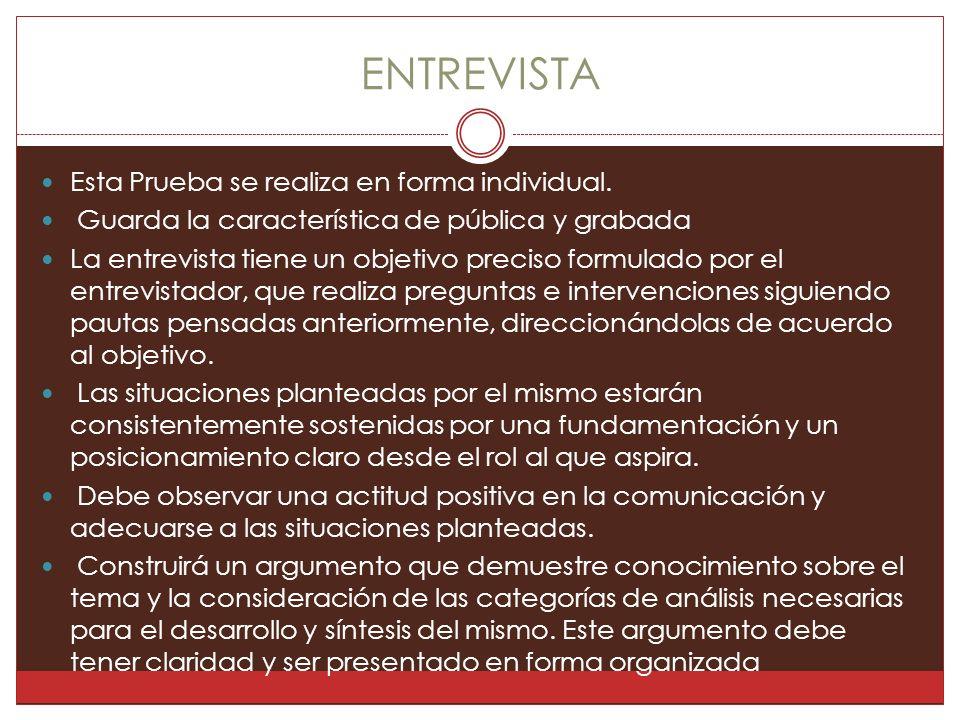 ENTREVISTA Esta Prueba se realiza en forma individual.