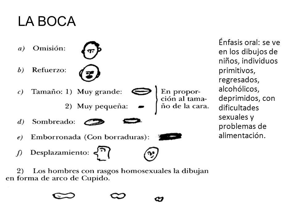 LA BOCA Énfasis oral: se ve en los dibujos de niños, individuos primitivos, regresados, alcohólicos, deprimidos, con dificultades sexuales y problemas de alimentación.