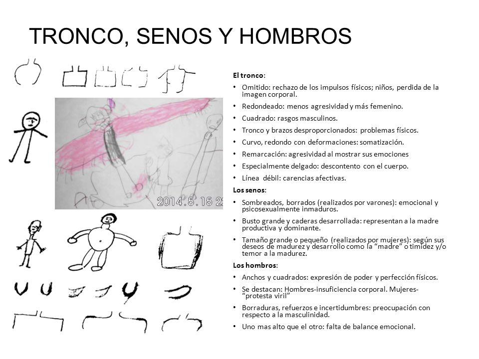 TRONCO, SENOS Y HOMBROS El tronco: Omitido: rechazo de los impulsos físicos; niños, perdida de la imagen corporal.