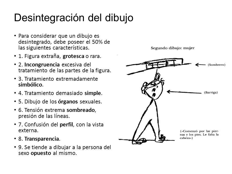 Desintegración del dibujo Para considerar que un dibujo es desintegrado, debe poseer el 50% de las siguientes características.