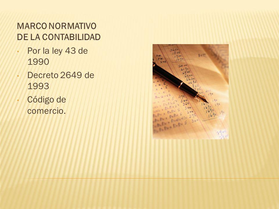 MARCO NORMATIVO DE LA CONTABILIDAD Por la ley 43 de 1990 Decreto 2649 de 1993 Código de comercio.