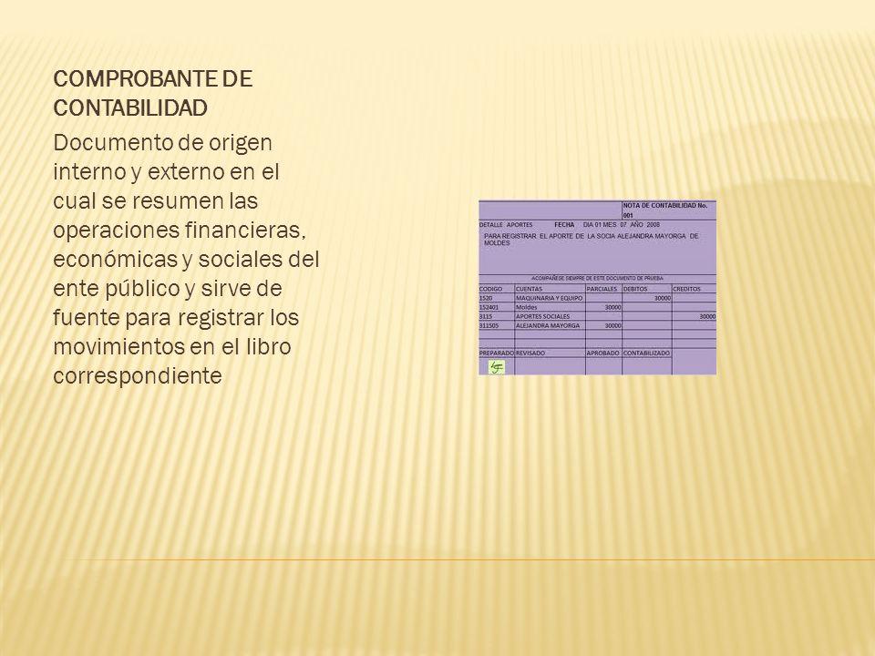 COMPROBANTE DE CONTABILIDAD Documento de origen interno y externo en el cual se resumen las operaciones financieras, económicas y sociales del ente público y sirve de fuente para registrar los movimientos en el libro correspondiente