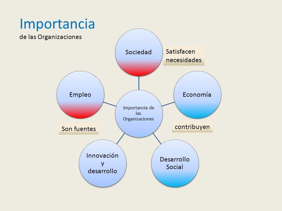 Importancia de las Organizaciones SociedadEconomía Desarrollo Social Innovación y desarrollo Empleo contribuyen Son fuentes Satisfacen necesidades Importancia de las Organizaciones